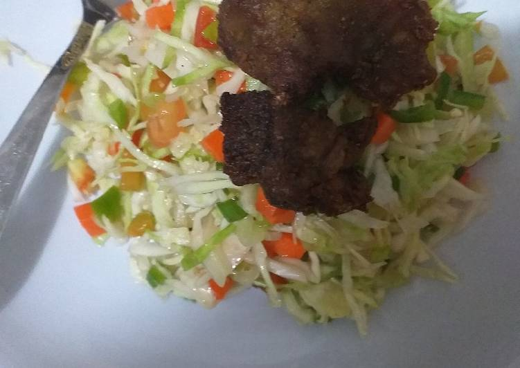 Salad with fried meat