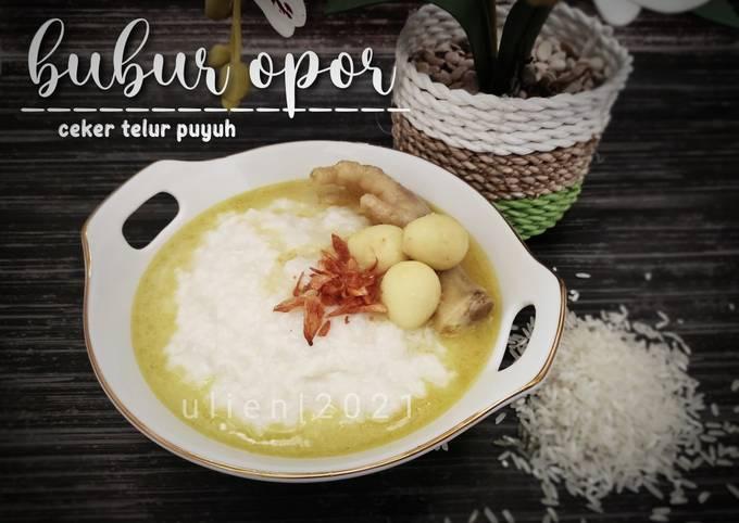 Bubur opor (ceker & telur puyuh)