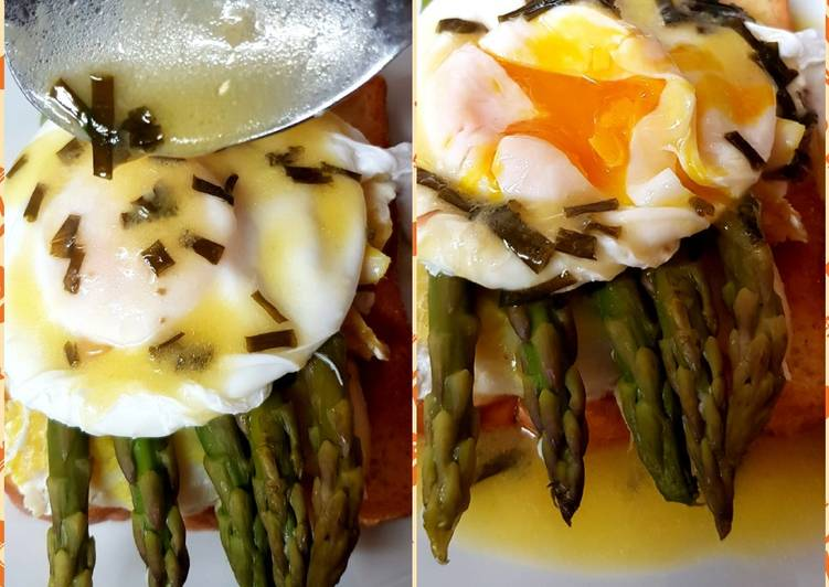 Recipe of Favorite My Asparagus & Smoked Haddock + Poached Egg on BriocheToasted.😘