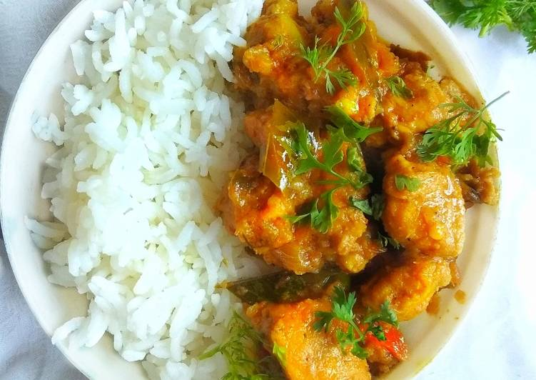 Authentic Chicken Dry Curry with Rice Bowl