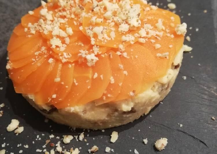 Écailles de carottes sur mousse de pois chiches et lentilles