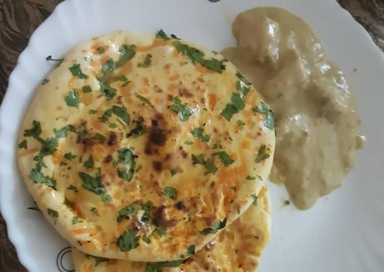 Kulcha with chicken korma