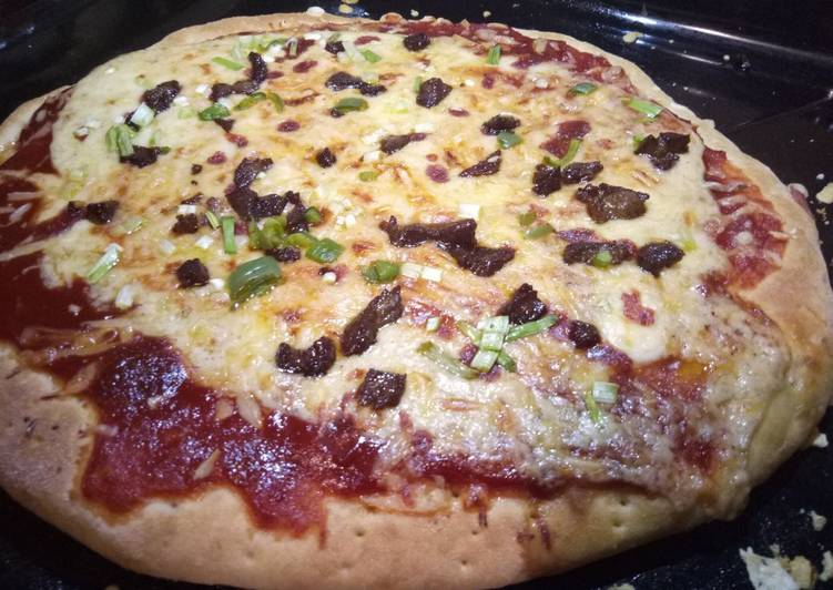 Chicago cheese steak pizza