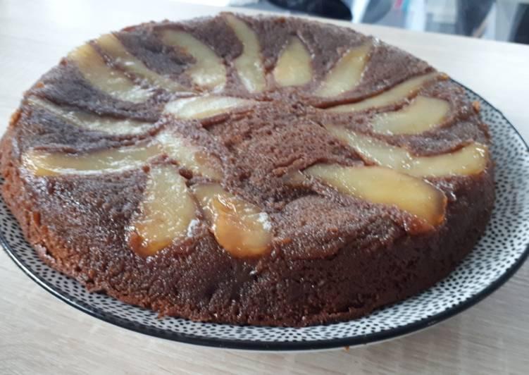Recette De Gâteau renversé poires caramélisees chocolat