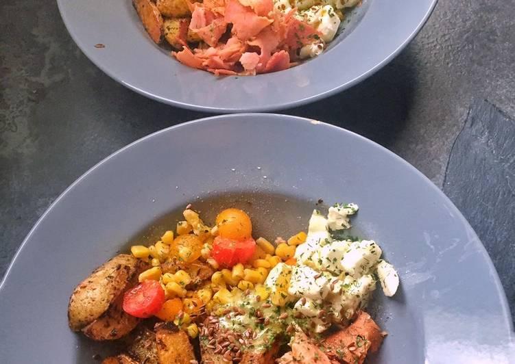 How to Cook Appetizing Bol potatoes, pesto et salade composée