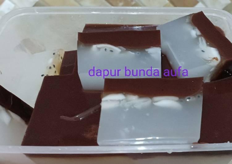 Agar puding kelapa coklat