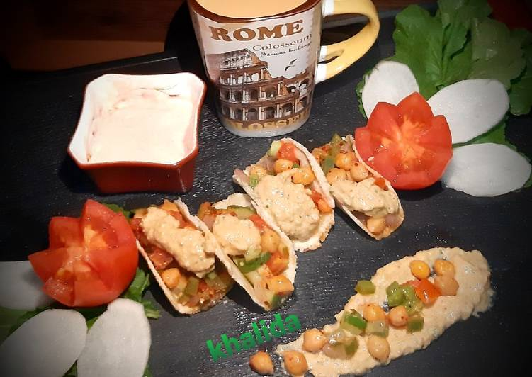 Bread hummus tacos
