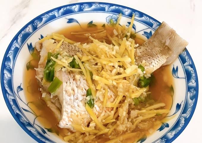 Ginger garlic steam fish