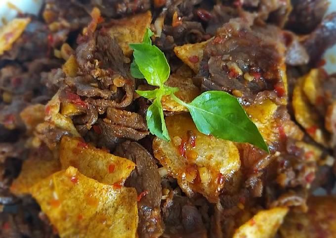 Beef slice kentang balado sereh