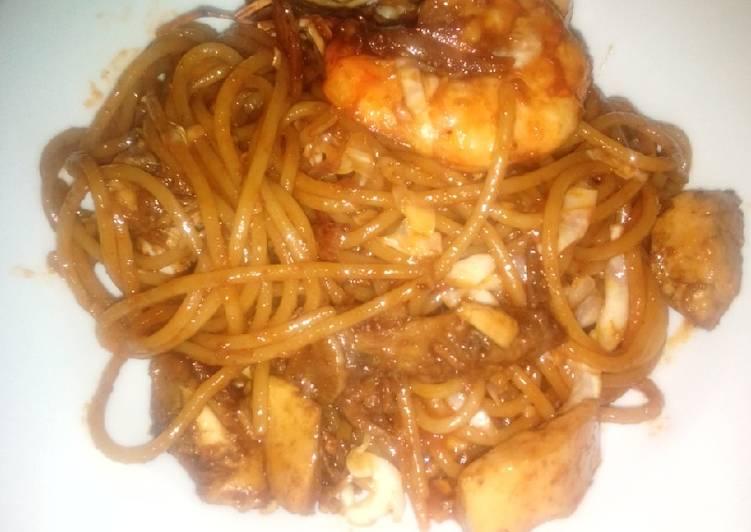 Spaghetti Masak Bumbu Mi Goreng Khas Aceh