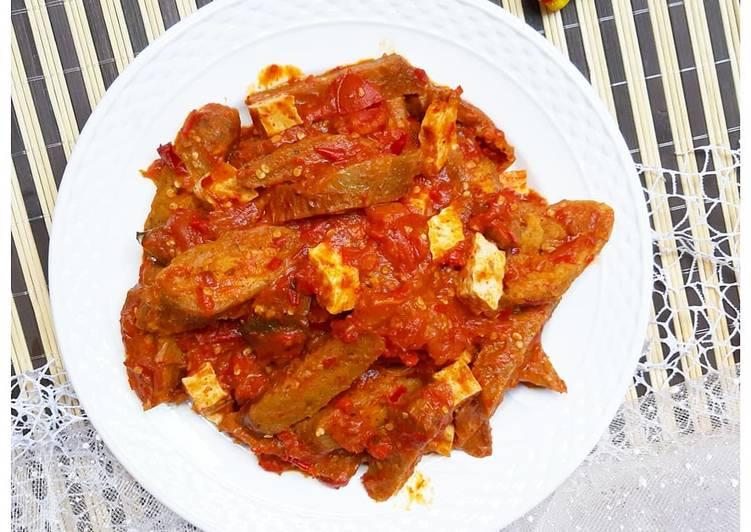 Tumis Sambal Udang + Bakso Tiram Vegan