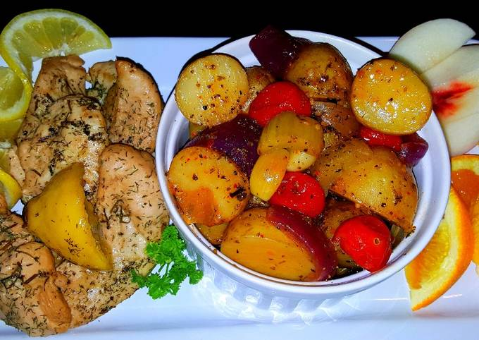 Recipe of Ultimate Mike's Lemon Chicken & Sweet Garlic Baby Spuds