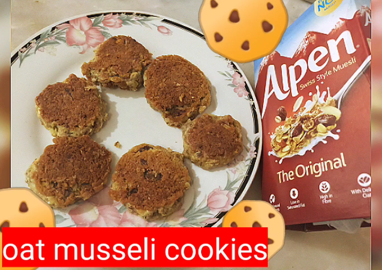 Oats musseli cookies in frying pan without oven