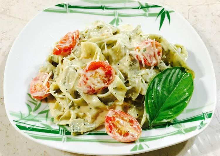 Recipe of Ultimate Patchoi Fettucini in Alfredo Sauce
