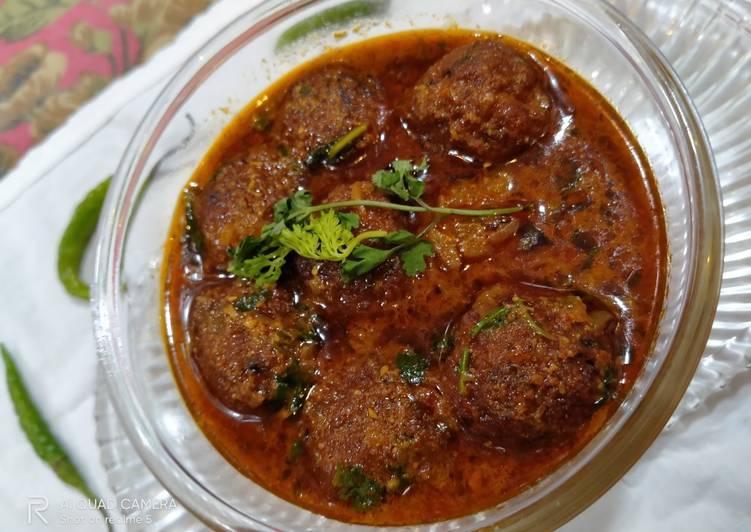 Soyabean kofte in Indian style