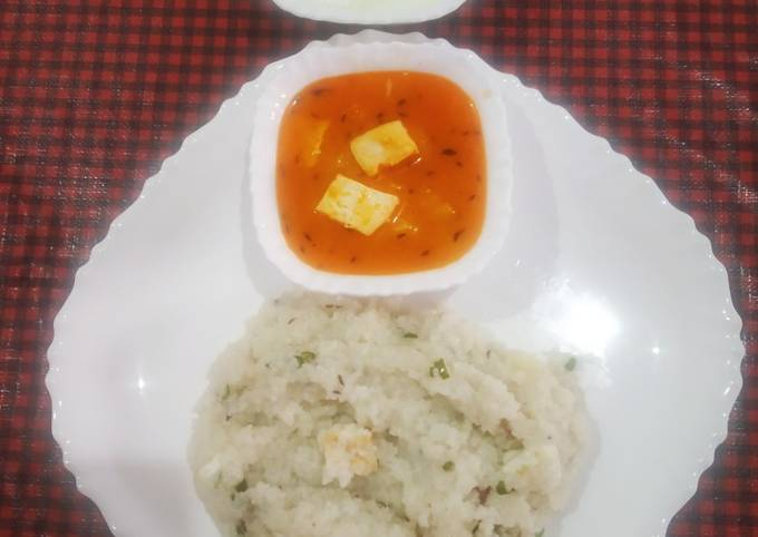 Recipe of Homemade Samak pulao with aloo-paneer sabzi