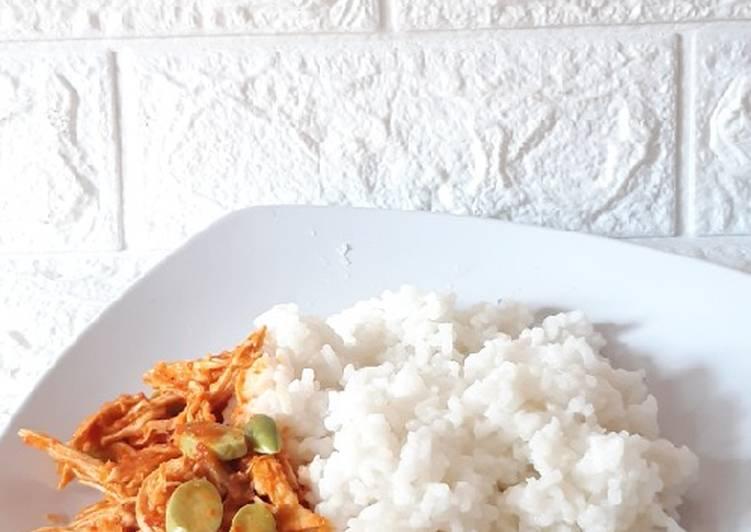 Cara membuat Ayam suwir petai pedas (diet)