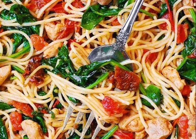 Healthy chicken or shrimp pasta