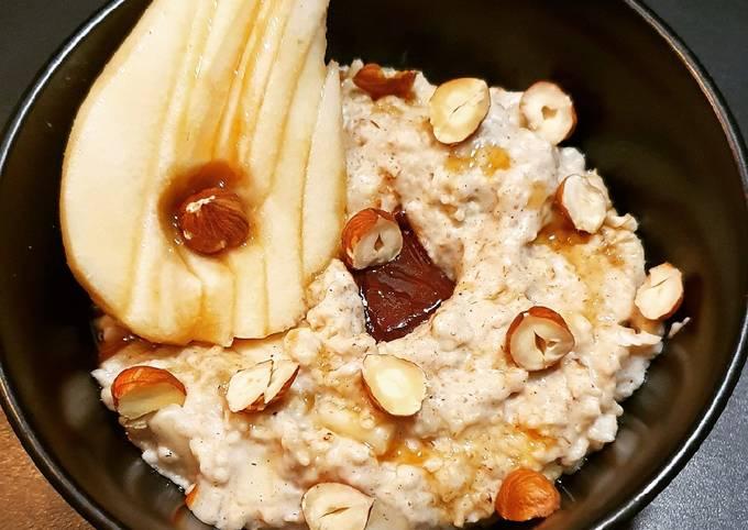 Porridge poire chocolat