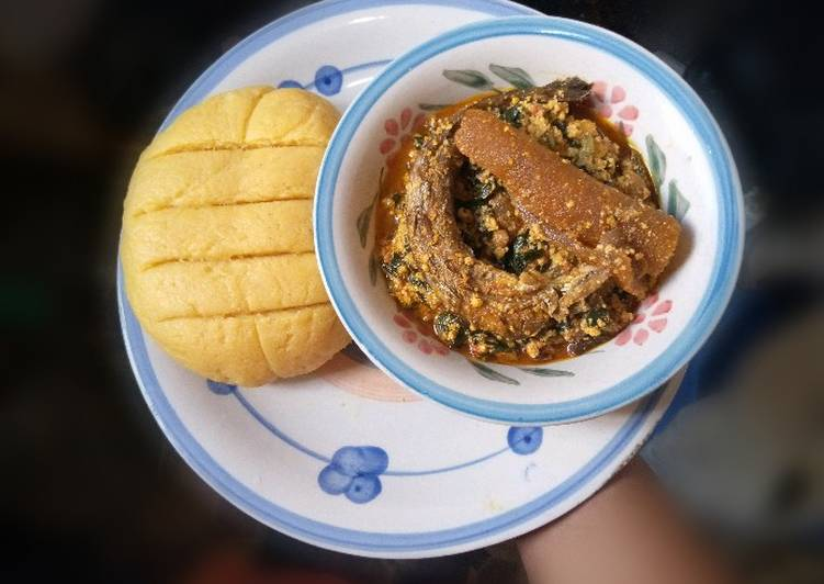 Recipe of Homemade Palm oil Semo with Melon Soup