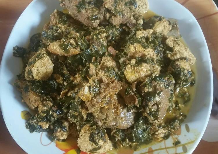African Food Egusi soup with moringa leaves