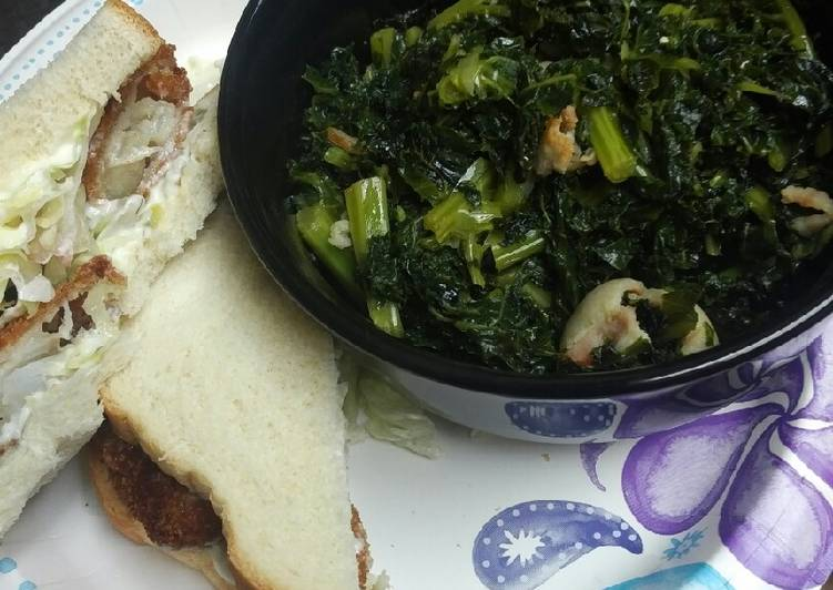 Steps to Prepare Favorite Kale and Fish Sandwiches, or the backup plan