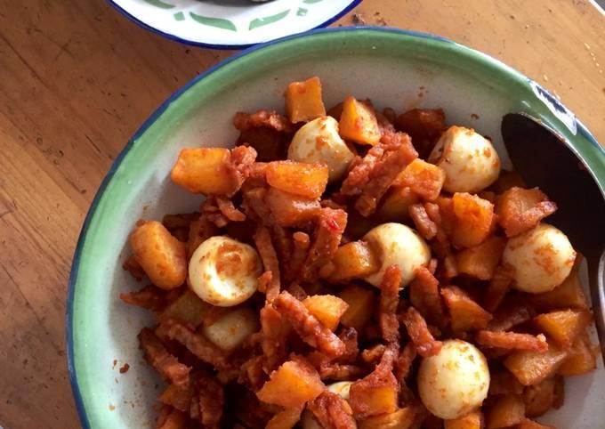 Balado Kentang (+tempe dan telur puyuh) 🥔🐣