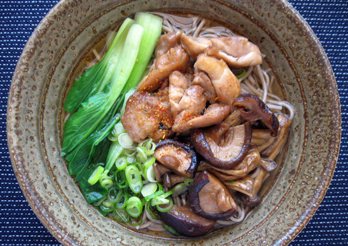 Soba Noodle Soup With Chicken & Asian Mushrooms