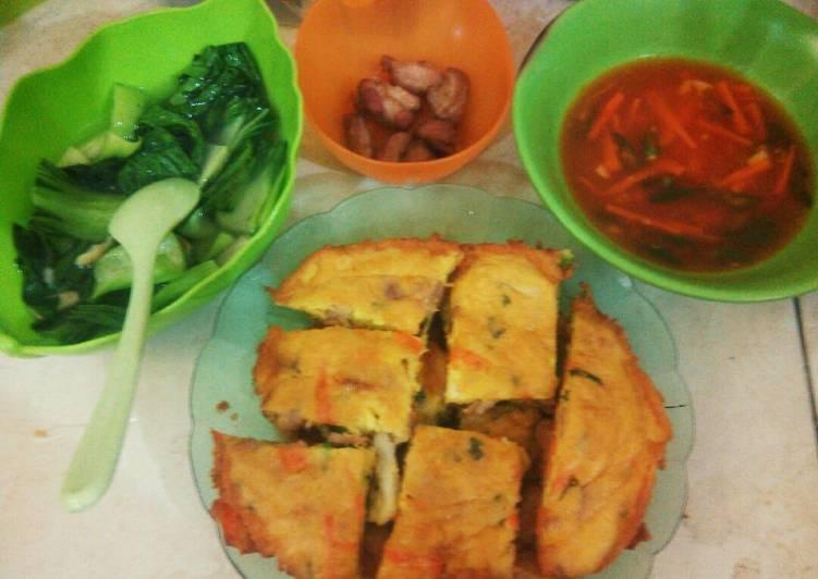 Resep Fuyunghai asam manis + cah pakcoy Lezat