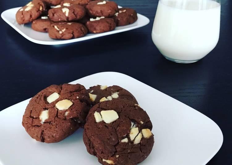 Recette Délicieux Cookies chocolat pépites de chocolat blanc