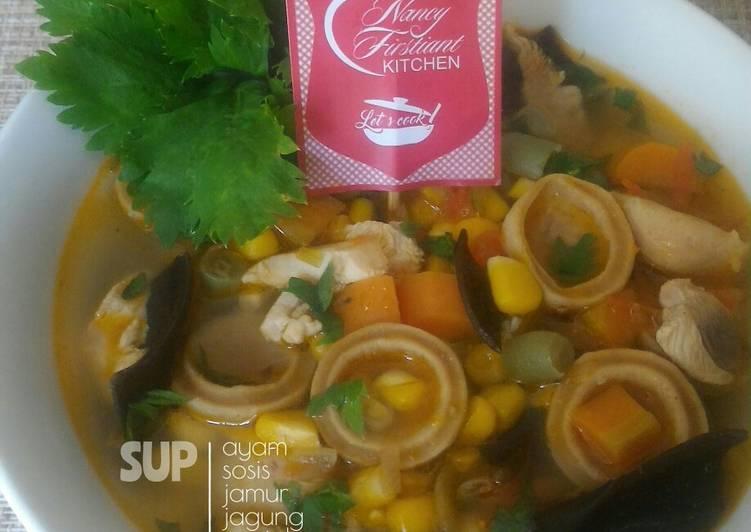 Sup Ayam Sosis Jamur