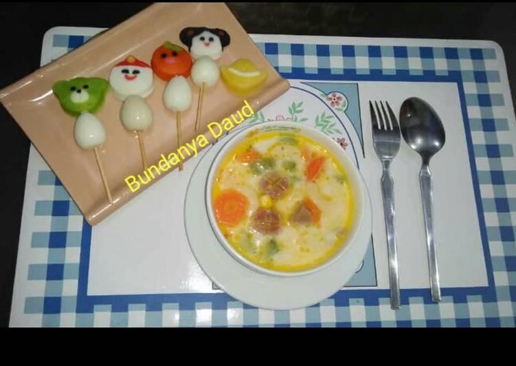 Sup sayur susu & Sate baso karakter telur puyuh