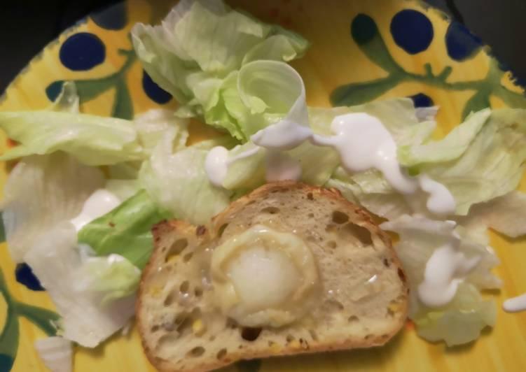 Salade verte vinaigrette chevre chaud et miel