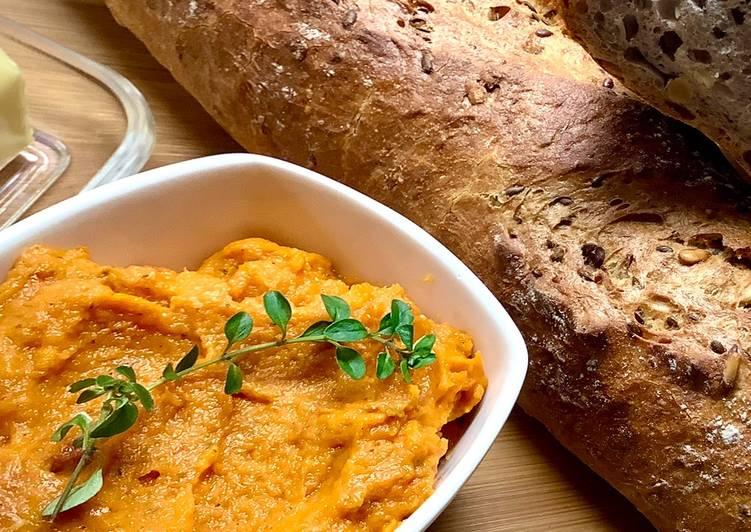 Pasta z pieczonej marchewki, czosnku i suszonych pomidorów🌱 główne zdjęcie przepisu
