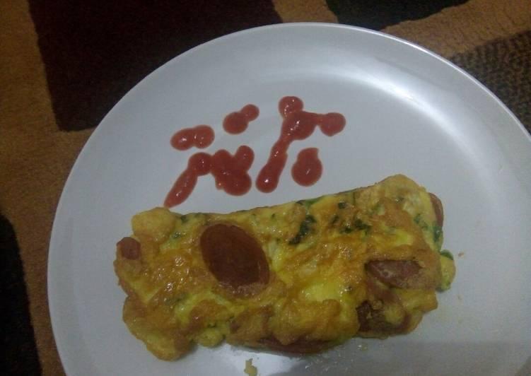 Resep Omelet Telur Sosis Keju Oleh Ulfa Khaira Cookpad