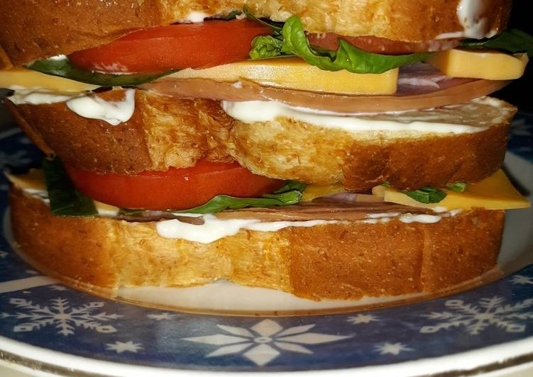 Recipe: Delicious Delicous Triple Decker Ham Sandwich