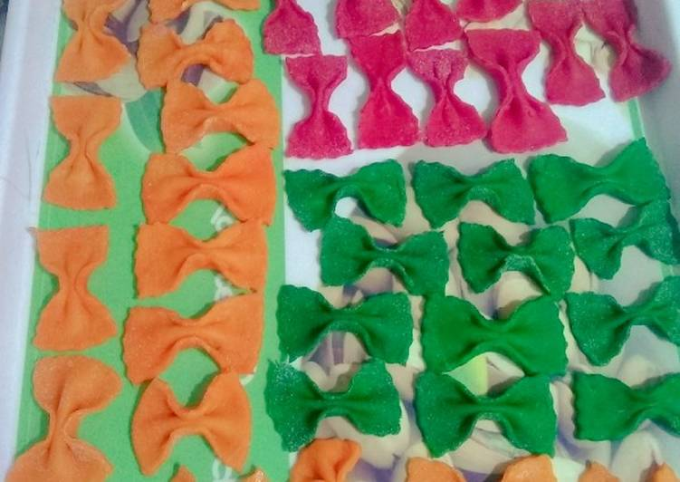 Recipe of Perfect Homemade farfalle pasta in three colour