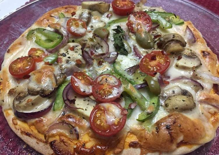 Cheesy.Tomato.Mushroom Pizza