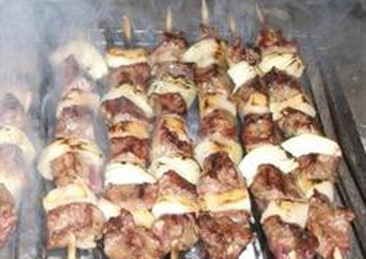 Easiest Way to Make Delicious Grilled meat cubes on skewers – lahem meshwi