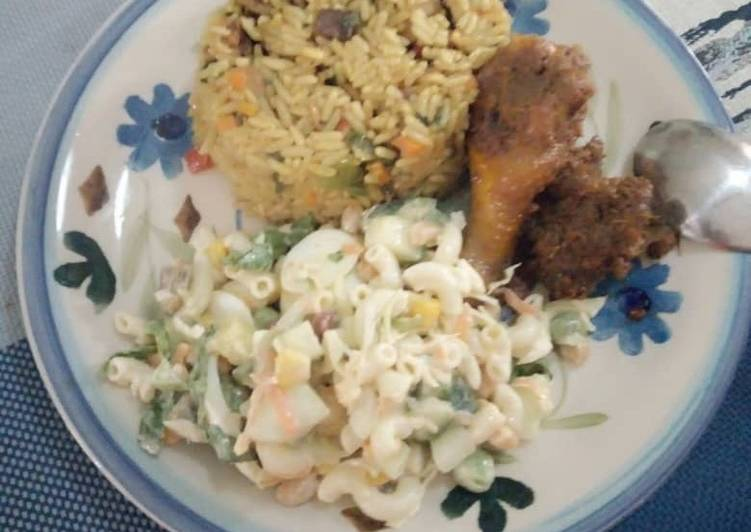 Recipe: Tasty Caribbean Rice with vegetable pasta salad with beef and chicken