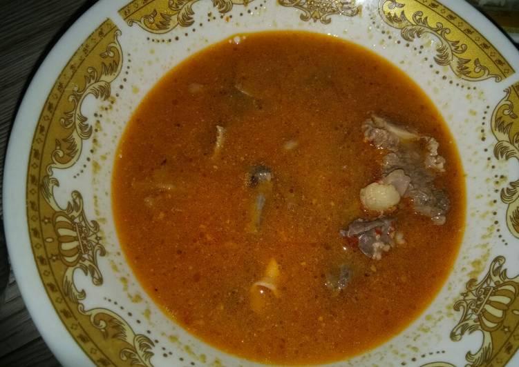 Tetelan sapi masak pedas (angeun lada)