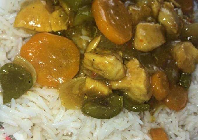 How to Prepare Favorite White rice and Curry chicken soup