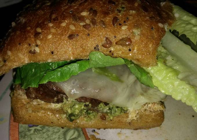 Easiest Way to Cook Yummy Michael's FLG (Finger Licking Good) Angus beef and basil Pesto cheeseburger with provolone and sun dried tomatoes