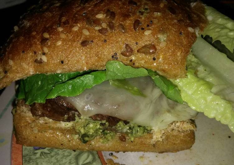 Steps to Prepare Ultimate Michael's FLG (Finger Licking Good) Angus beef and basil Pesto cheeseburger with provolone and sun dried tomatoes