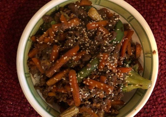 Steps to Prepare Any-night-of-the-week Korean Ground Beef and Rice Bowl