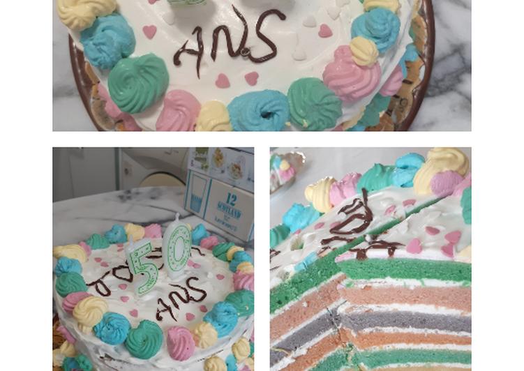Step-by-Step Guide to Prepare Favorite Rainbow cake