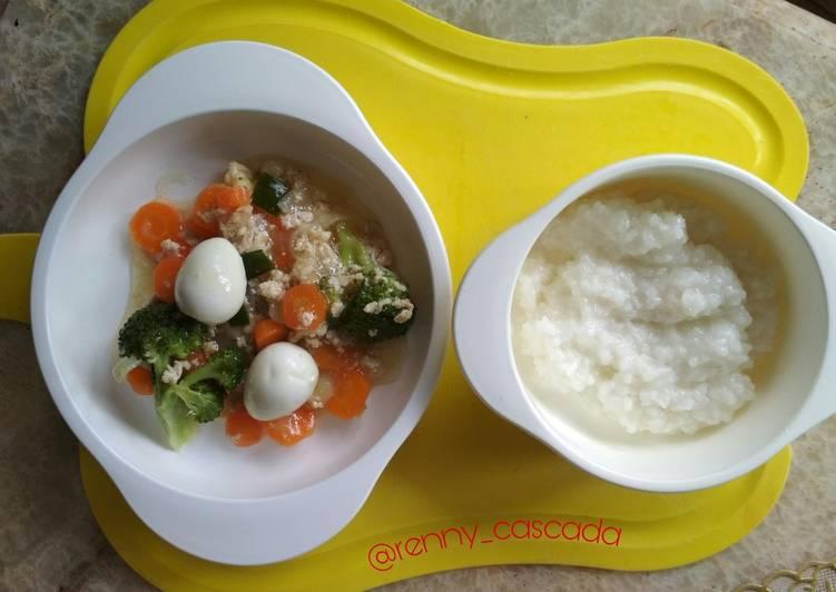 Resep Mpasi 9 bulan bubur capcay ayam + telur puyuh oleh