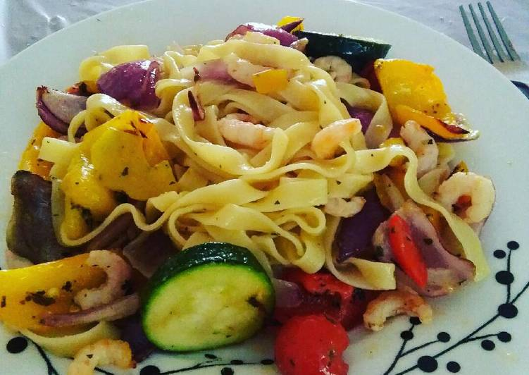 Pasta with Roasted vegetables and prawns