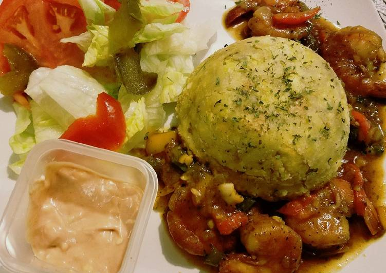 Easiest Way to Prepare Appetizing Mofongo con camarones en salsa criolla (Creole style Mofongo and Shrimp)