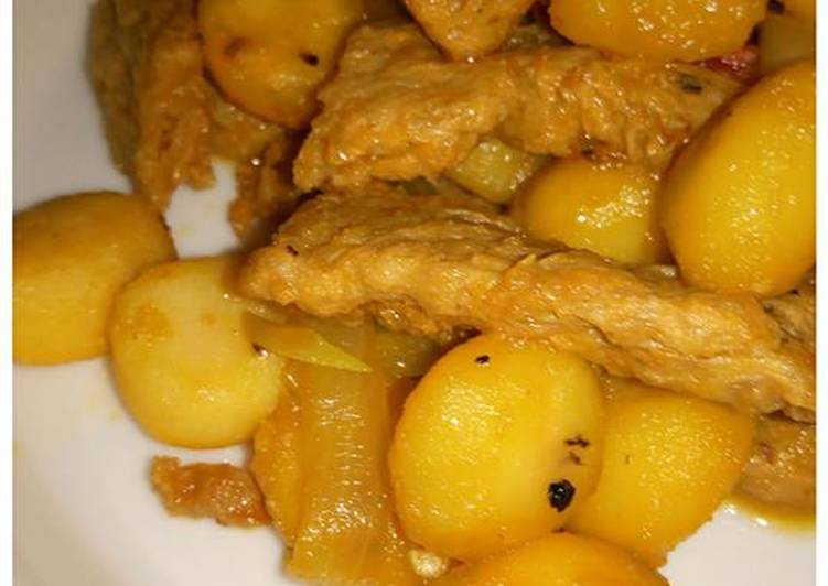 Spicy and Savory Mock Meat with Water Chestnuts (Vegan)